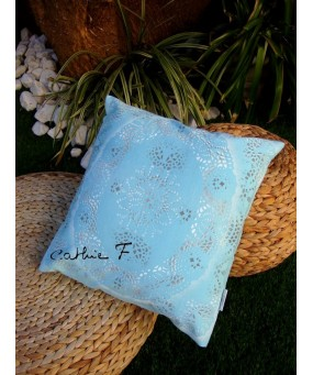 Coussin turquoise MOSAICA