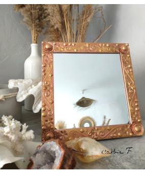 Miroir carré cuivre or...