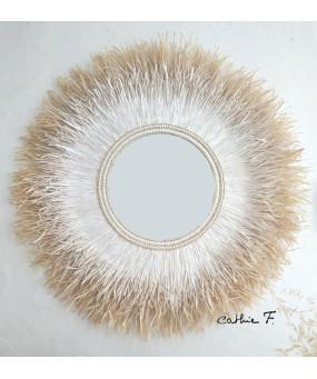 Grand miroir ethnique blanc...