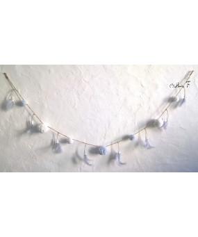 Guirlande pompons blanc gris