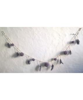 Guirlande pompons gris taupe