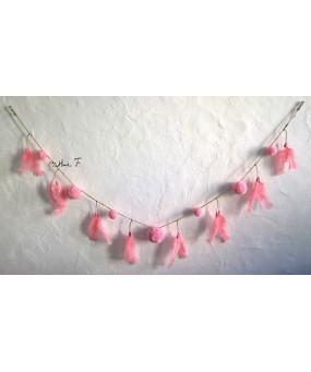 Guirlande pompons rose