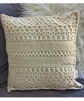 Coussin crochet écru ECUME